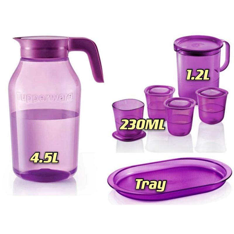 READY STOCK Tupperware Universal Jar Pitcher Purple Royale Crystalline Drinking Set Pitcher Short Glass Giant Jug Mugs