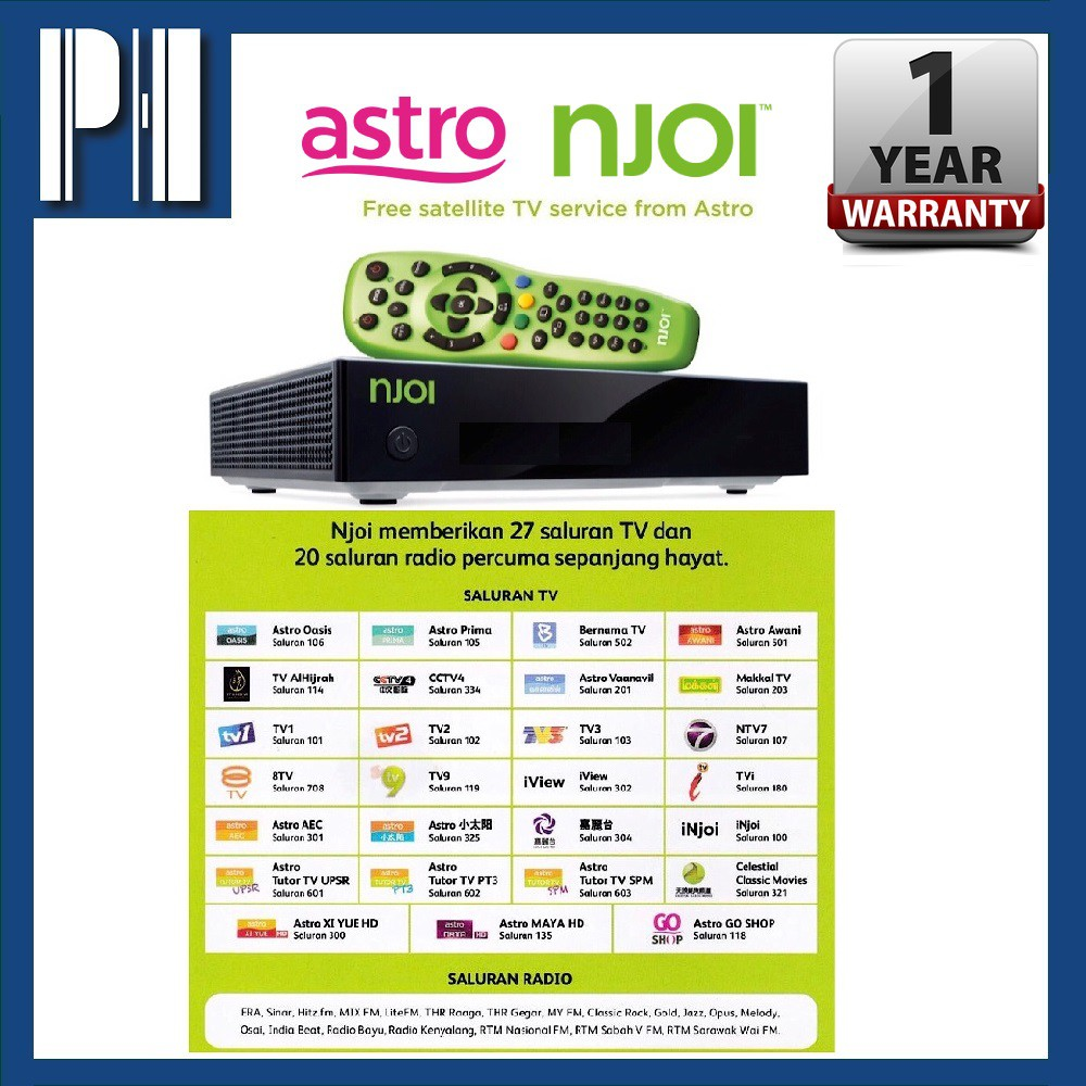 ASTRO NJOI Lifetime Free Channel Satellite Media Player (Complete Set  Indoor & Outdoor With Cable) Ready For D I Y