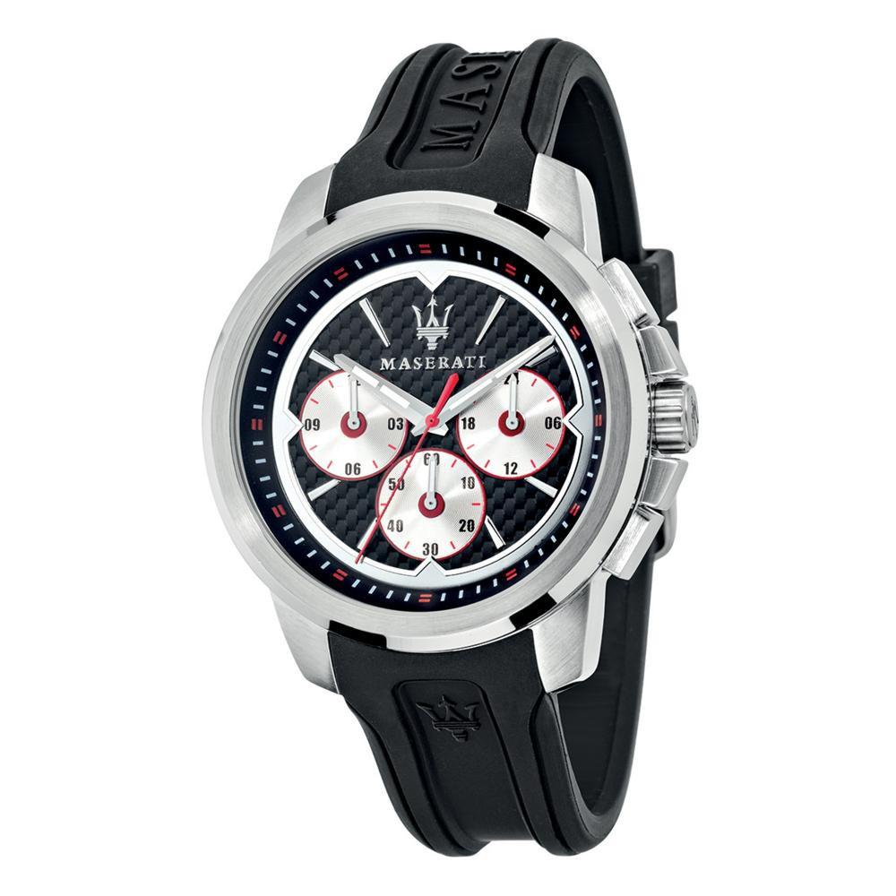Maserati Sfida Black Silicon Band Quartz Multi function Watches R8851123001
