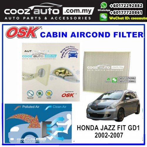 Cabin Pollen Filter Acdelco ACC70 for Honda Jazz GE2,GD,GE3 2002-2008