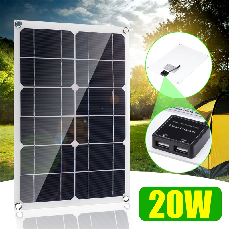 20W 5V 3A Portable Solar Panel Double USB Port Camping Hiking Cycling  Traveling