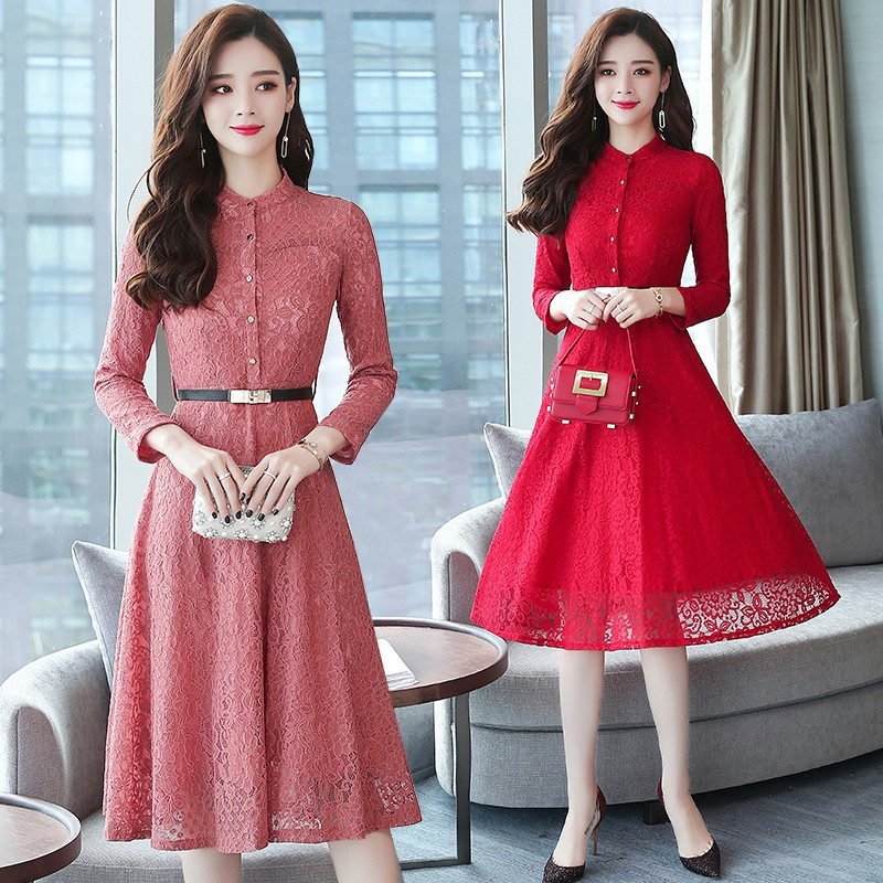 Korean Style Long Sleeve Party Elegant Trendy Lace Birthday Dresses Women Red Shopee Malaysia