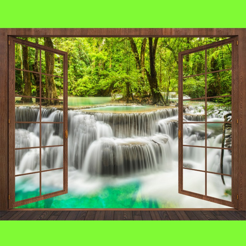 3D Mural Forest Waterfall Aesthetic Simulation Black Walnut Wooden Wall  Sticker