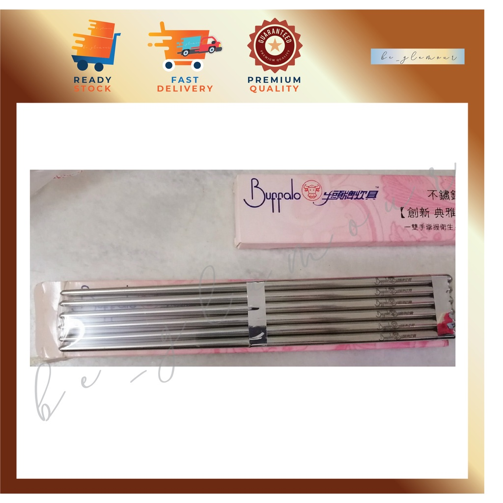 🐮 Buffalo Stainless Steel Chopsticks - 6 pairs / 🐮 牛头牌不锈钢厨具 💥⚡️READY STOCK⚡️