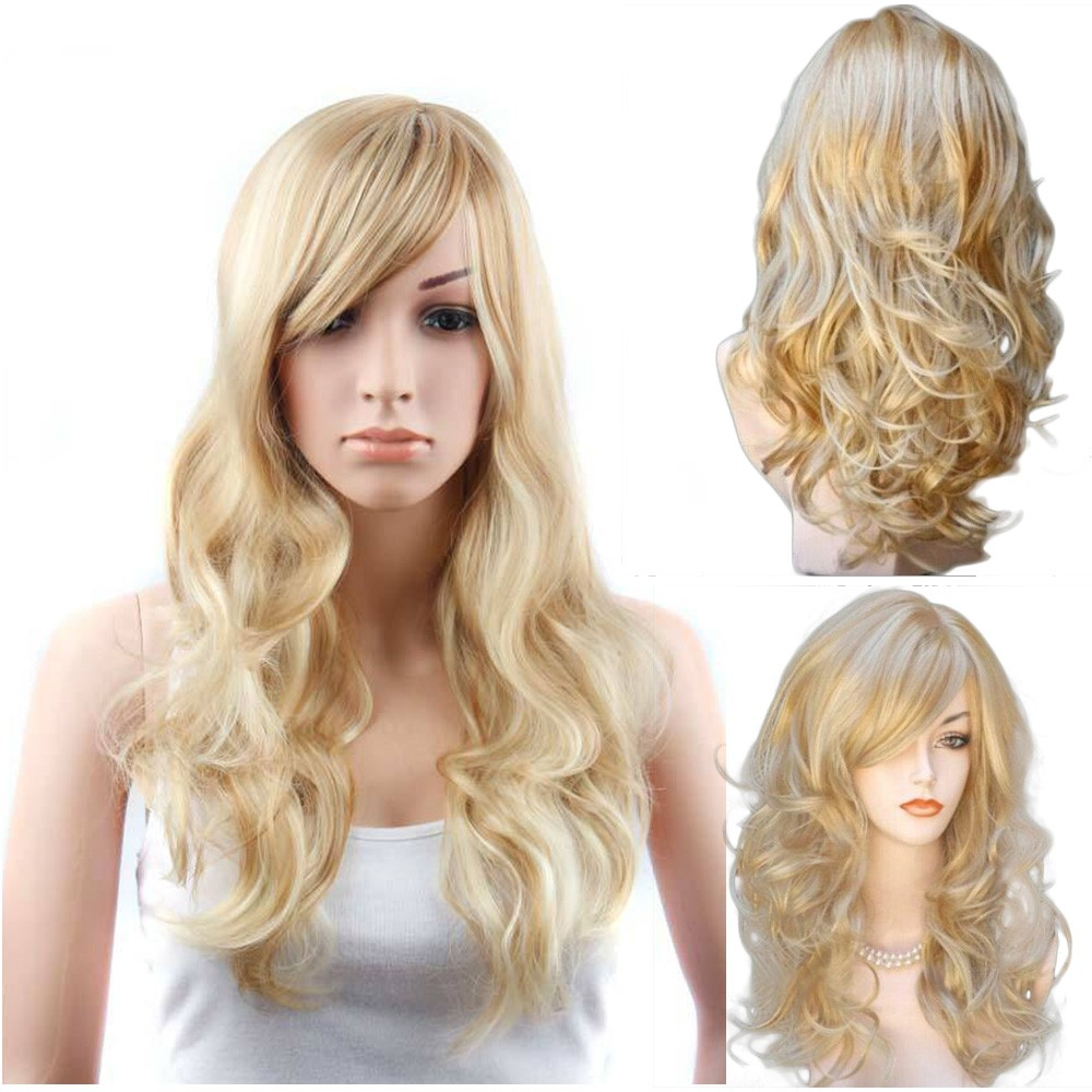 c1bc8d8b2f Ladies long curly hair bangs big wave hair wig sets | Shopee Malaysia