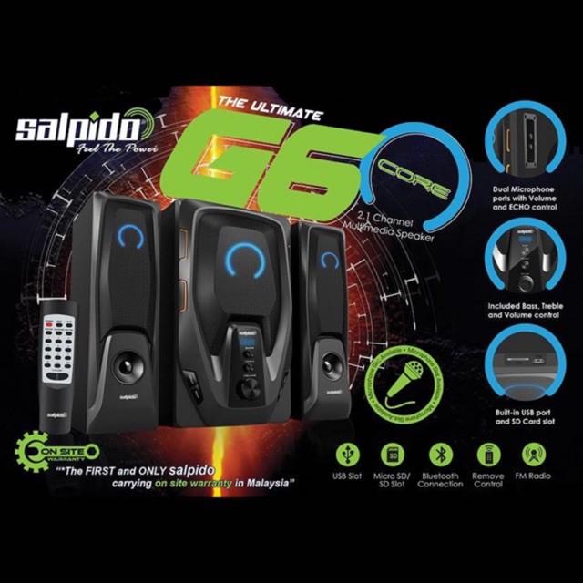 Salpido 2.1 Channel Multimedia Speaker G6 Core - Bluetooth, FM, USB/SD, LED display