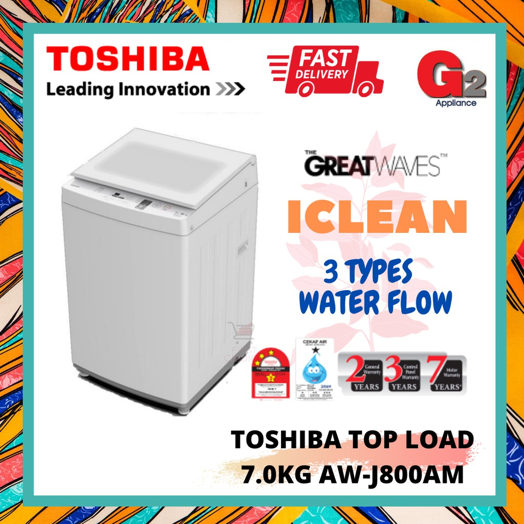 TOSHIBA (NEW MODEL) WASHING MACHINE 7.0KG AW-J800AM-[FAST & SAFE DELIVERY] TOSHIBA WARRANTY MALAYSIA