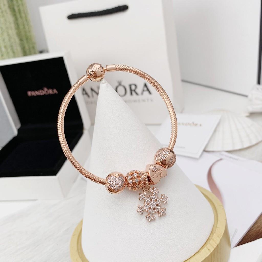 Pandora Rose Gold Diamond Snowflake Pendant Bracelet Shopee Malaysia