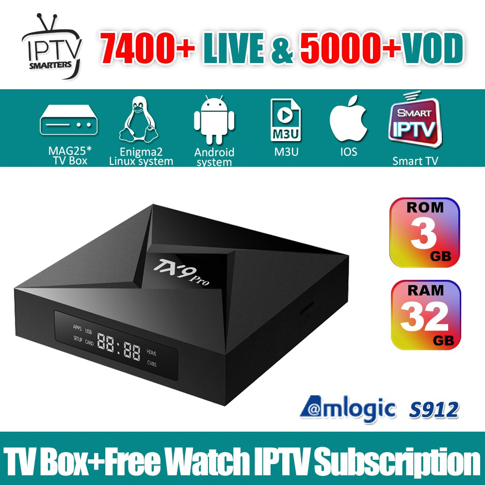 TX9 PRO IPTV Box Android 7 1 S912 3GB 32GB & 1 Year IPTV Smarters  Subscription