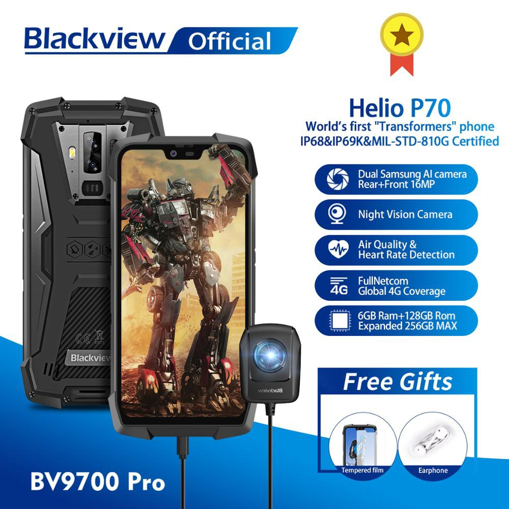 Blackview BV9700 Pro Helio P70 6GB+128GB Android 9 0 Smartphone 16+8MP  Night Vision Dual Camera IP68 Waterproof Mobile P
