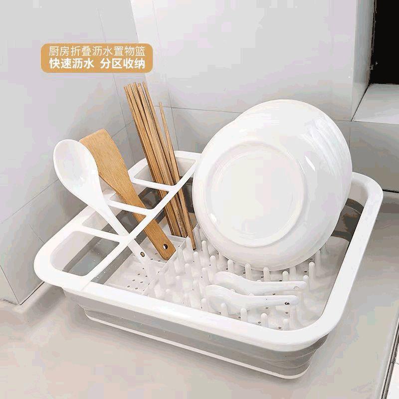 【Ready stock】硅胶沥水碗筷架可折叠伸缩碗碟架餐具收纳架厨房收纳盒