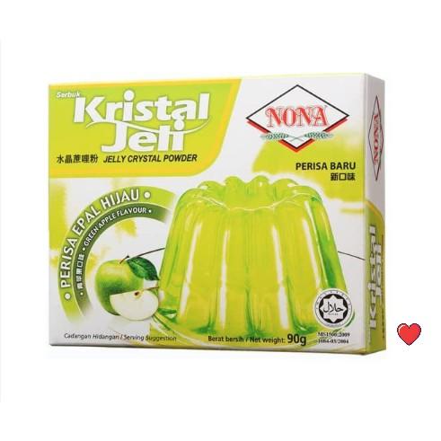 NONA Kristal Jeli / Jelly Crystal Powder ~ Green Apple Flavour @ 90g ( Free Fragile + Bubblewrap Packing )