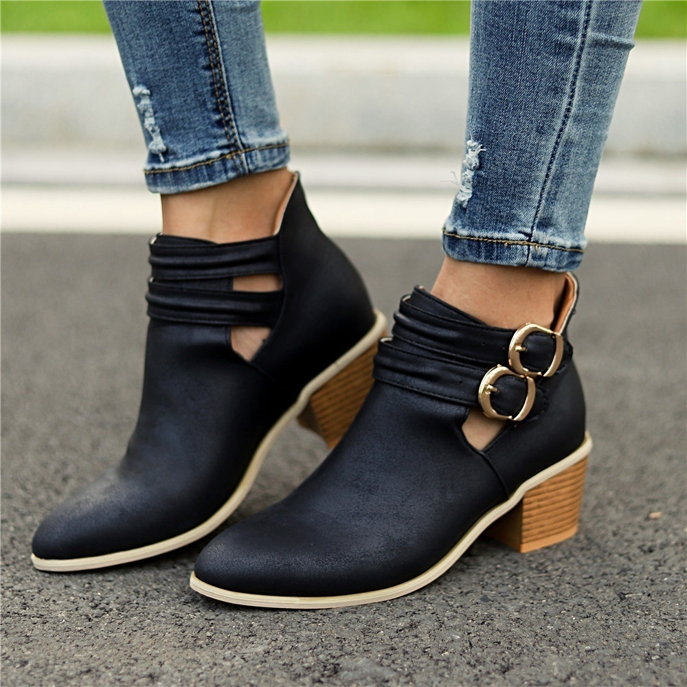 bef936e5983 Women Short Boots Vintage Chunky Heel Ankle Shoes Buckle Booties Shoes