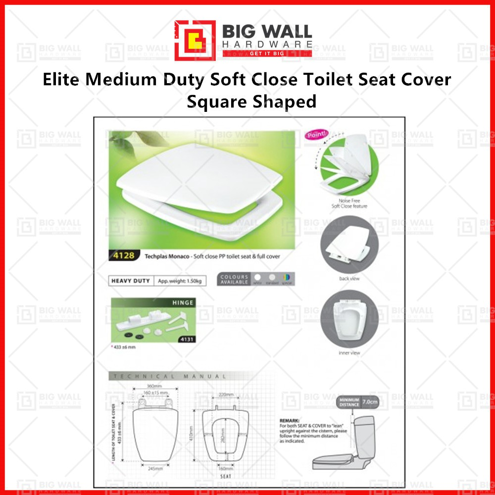 Elite Medium Duty Soft Close Toilet Seat Cover for Johnson Suisse Monte Carlo *Installation accessories included