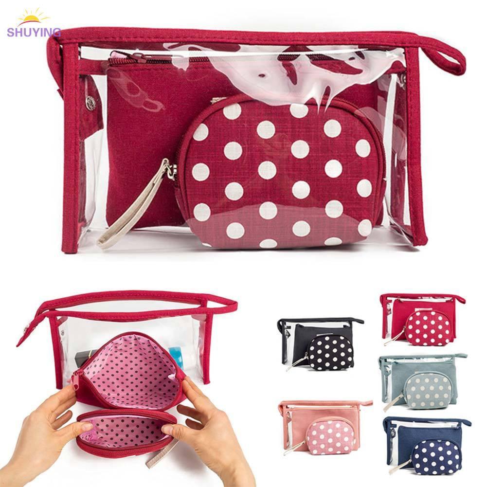 6f849202f20c ❤SHU 3 Pcs/Set Women Cosmetic Makeup Bag PVC Pouch Travel Toiletry Bags Sets