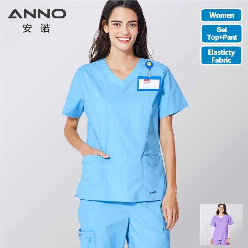ANNO Medical Scrubs Nurse Uniform Surgical Clothing Work Uniforms Shirt Trouser