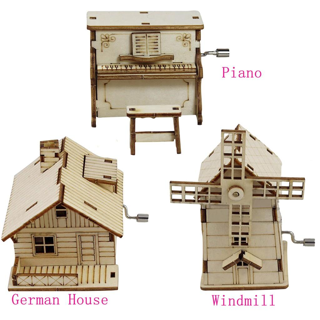 diy wooden music box hand crank birthday holiday musical toy caixa de musica