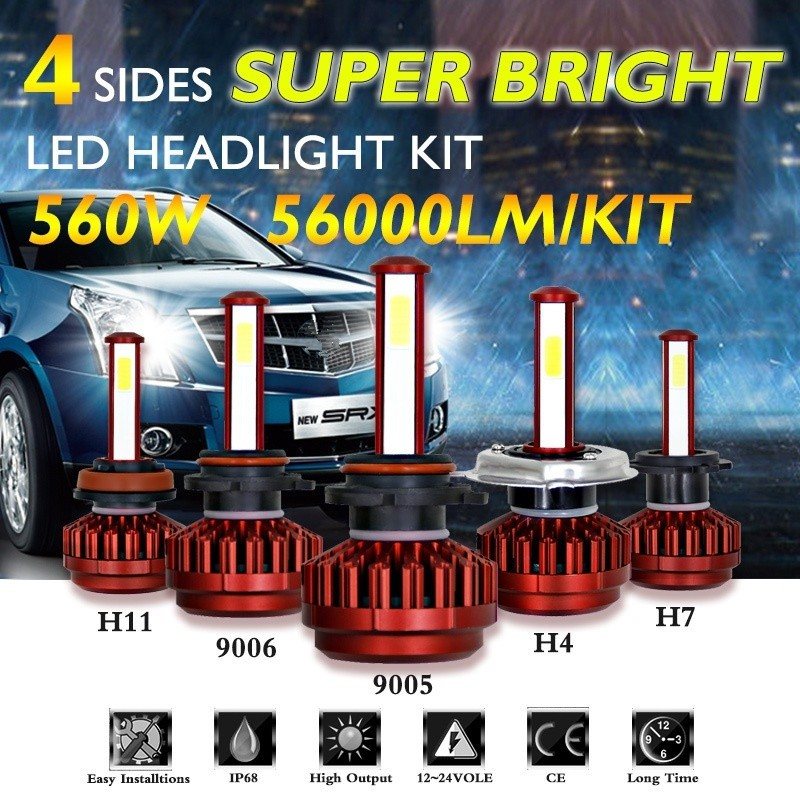 36W 3800lm 2 Sides LED Headlight Kit H7 High or Low Beams HID 6000K Bulbs
