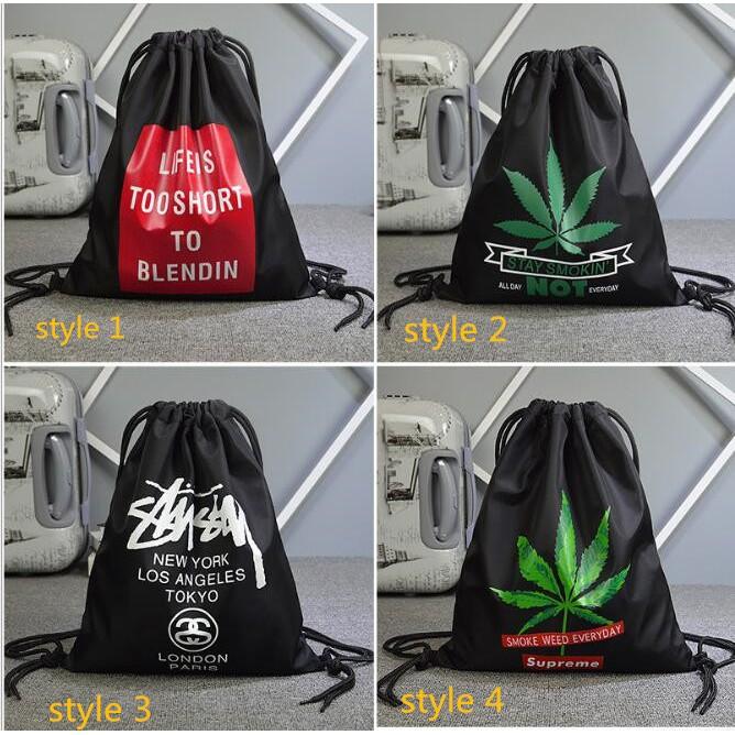 0cbfd3d63 Supreme Canvas Black Sports Bag Portable Travel Drawstring Backpack |  Shopee Malaysia