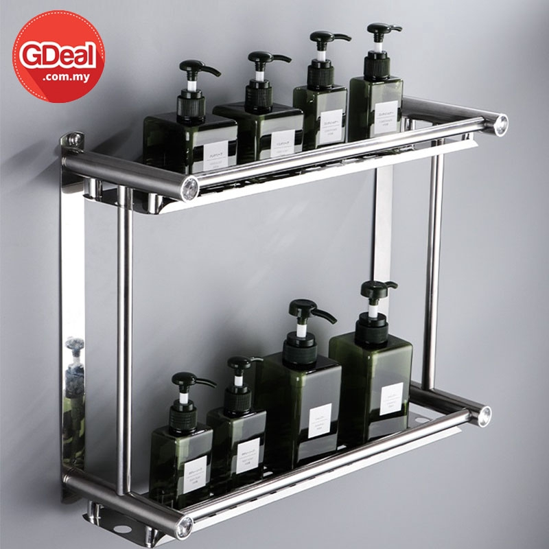 GDeal 40cm 2 Tier Stainless Steel Kitchen Bathroom Shelf Waterproof Toilet Storage Rack Toiletries Organizer