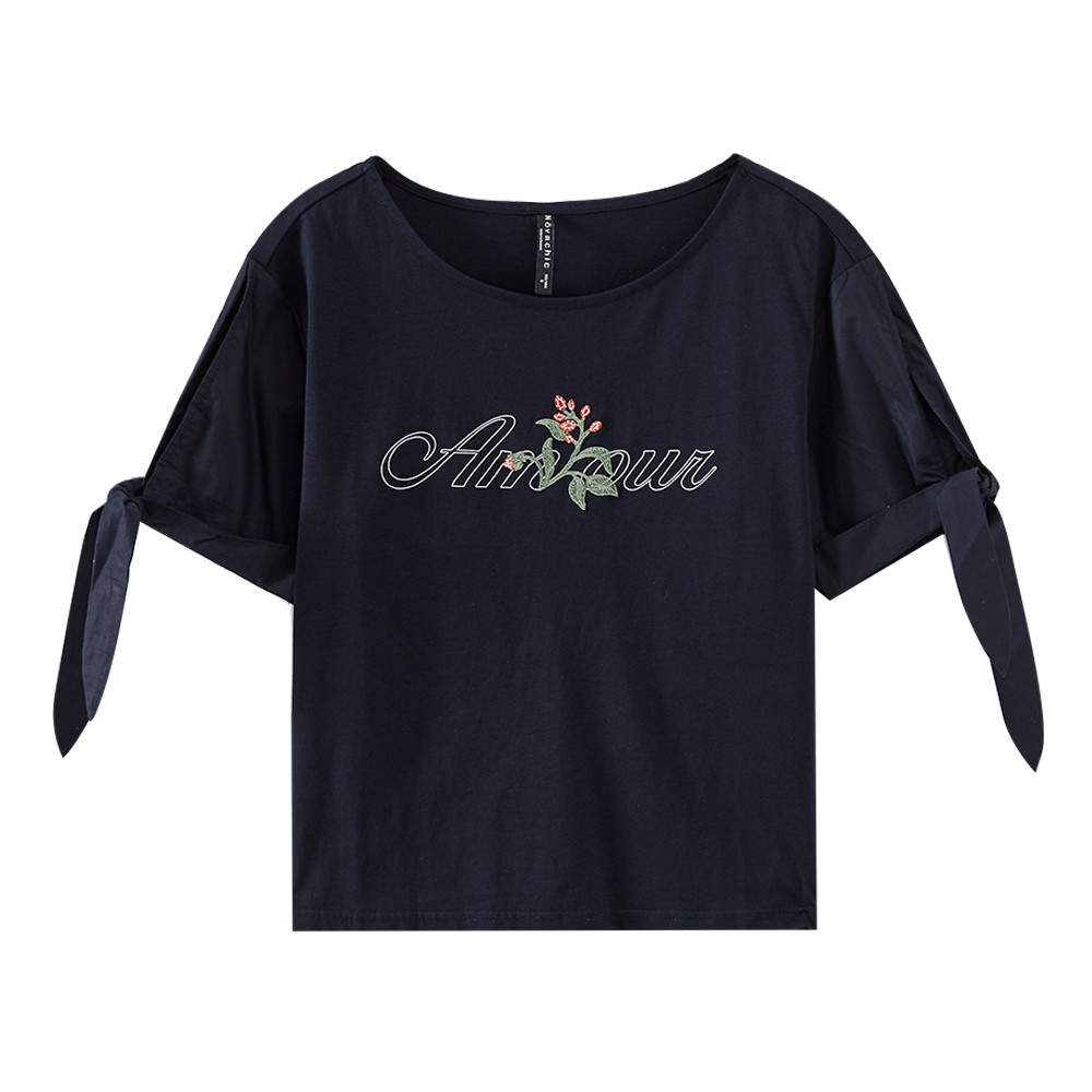 7bd6adc9ce Metersbonwe Women T-shirt 2019 New Hot Summer New Print Cuffs Lace  Short-sleeve