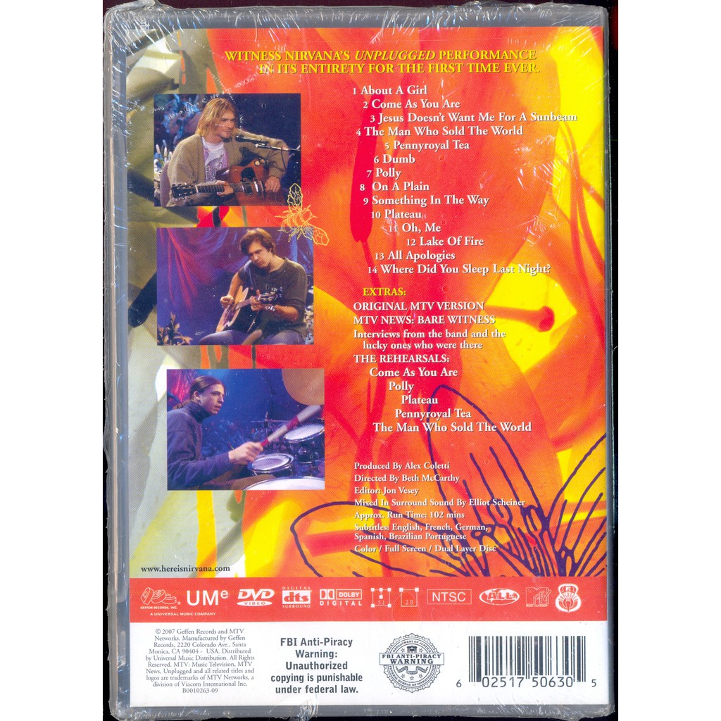 Nirvana - Unplugged In New York - New DVD