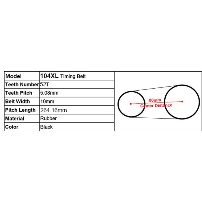 10mm Width 524XL Timing Belt 3//8