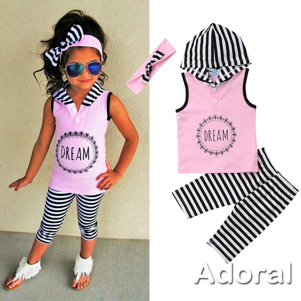 Summer Girls Clothes Toddler Kids Sleeveless Hooded Vest+Pants 2PCS Outfits 1-6T