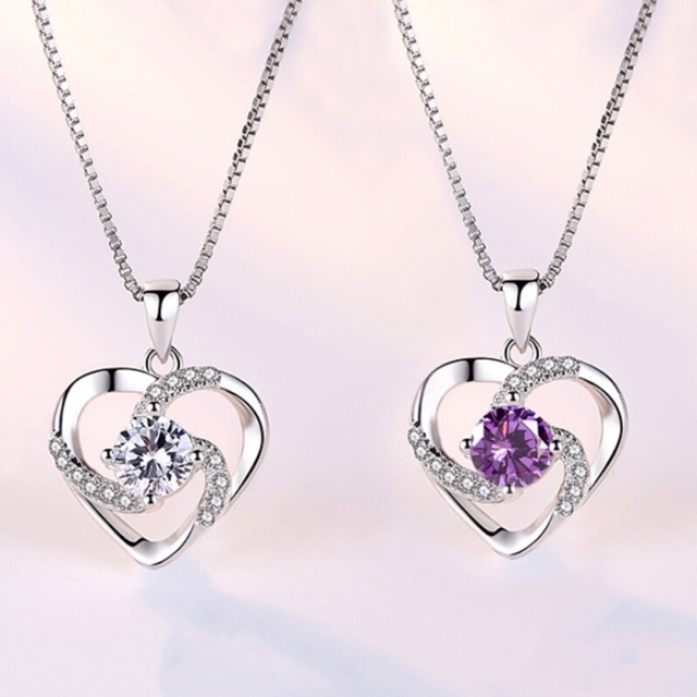 Women 925 Sterling Silver Necklace Chain Amethyst Crystal Heart Purple Pendant