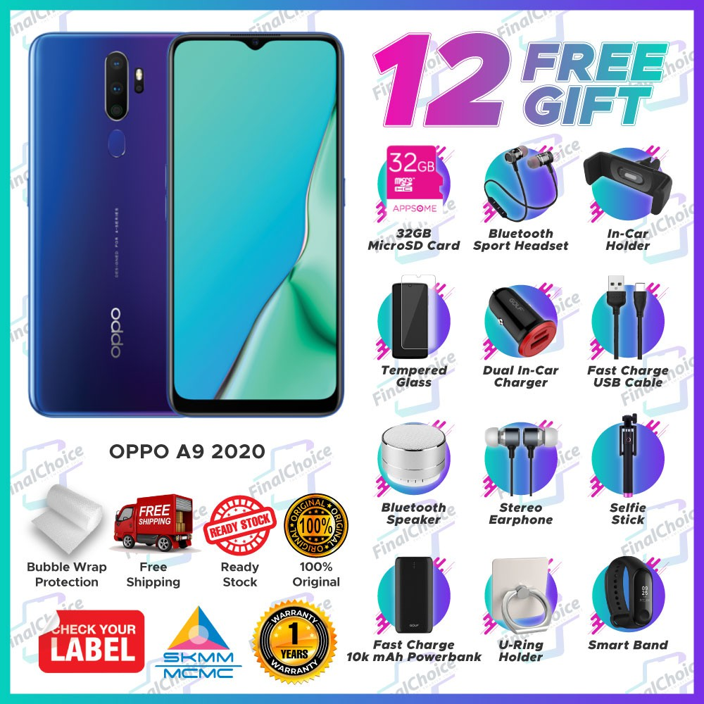 [Up to 12 Free Gift] OPPO A9 2020 (8GB+128GB) Original OPPO Malaysia Warranty