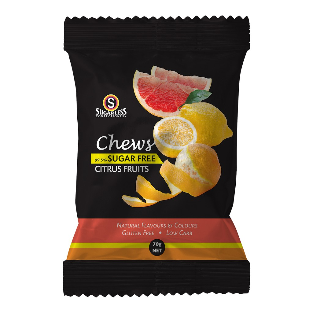 Chews Citrus Fruit Soft Candy Sugar Free, Gluten Free Low Carb & Fat Free