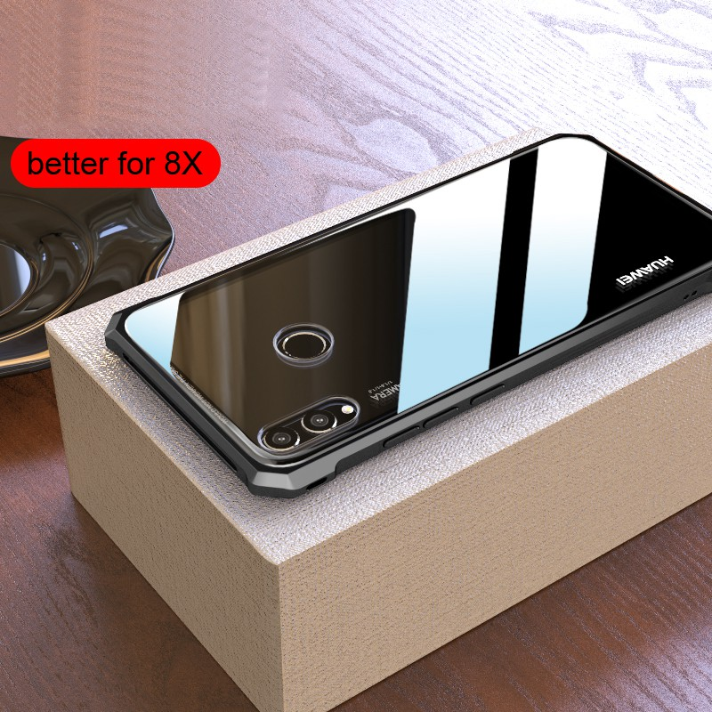 check out 0a43f 3f893 Huawei Honor 8X Max Luxury Slim Metal Bumper Case Tempered Glass Back Cover