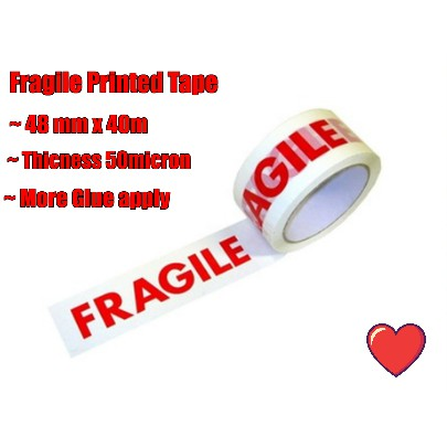 ( Ready Stock ) Fragile Printed Tape 48mm x 40m x 50micron