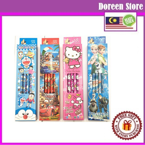 HB Pencil 1 Box (12pcs) Hello Kitty / Frozen / Sofia / Princess/ Pony/ Ultraman