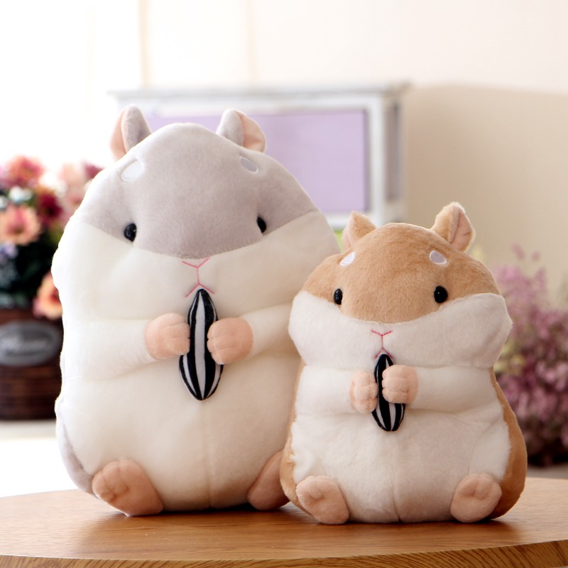 plush toy cartoon fat hamster holding seed soft stuffed doll appease baby gift