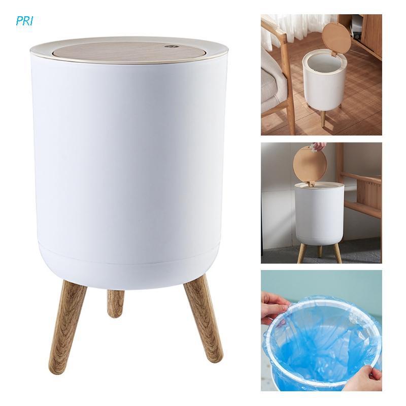 PRI* Creative Wooden Trash Can with Lid Press Garbage Rubbish Bin High Foot Waste Container Organizer Bathroom Kitchen Decoration