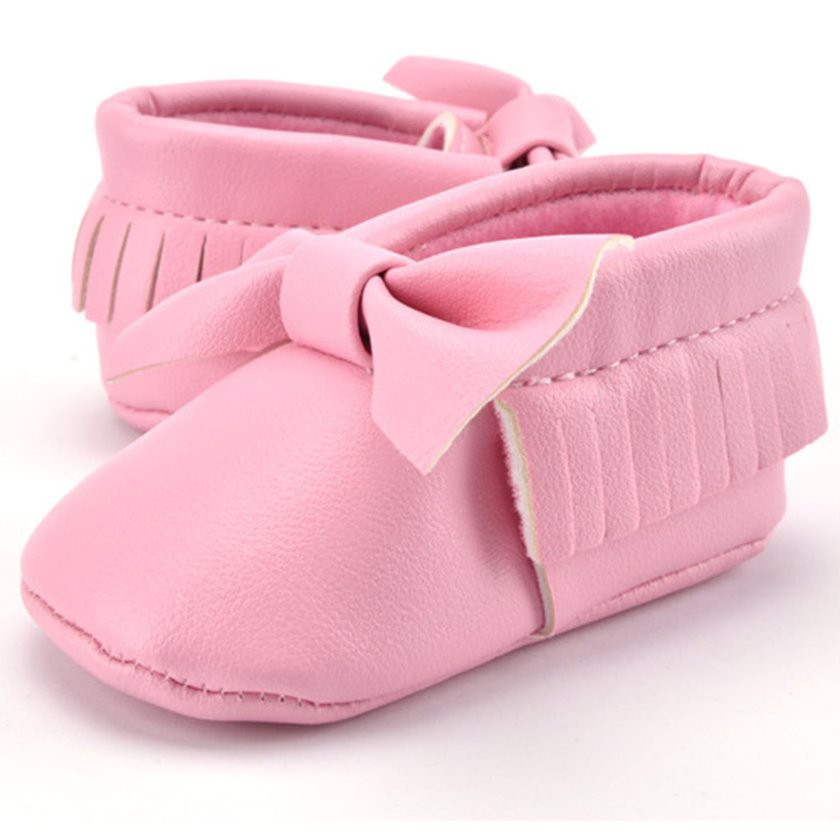 20e426a787 【Kiss】Baby PU Leather Tassels Bowknot Indoor Toddler Infant Sole Shoes Soft