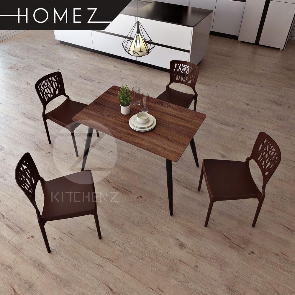 Homez Solid Board Dining Table HMZ-DT-M01(11070) + 4 Designer Dining Chair IZ-701 - Brown
