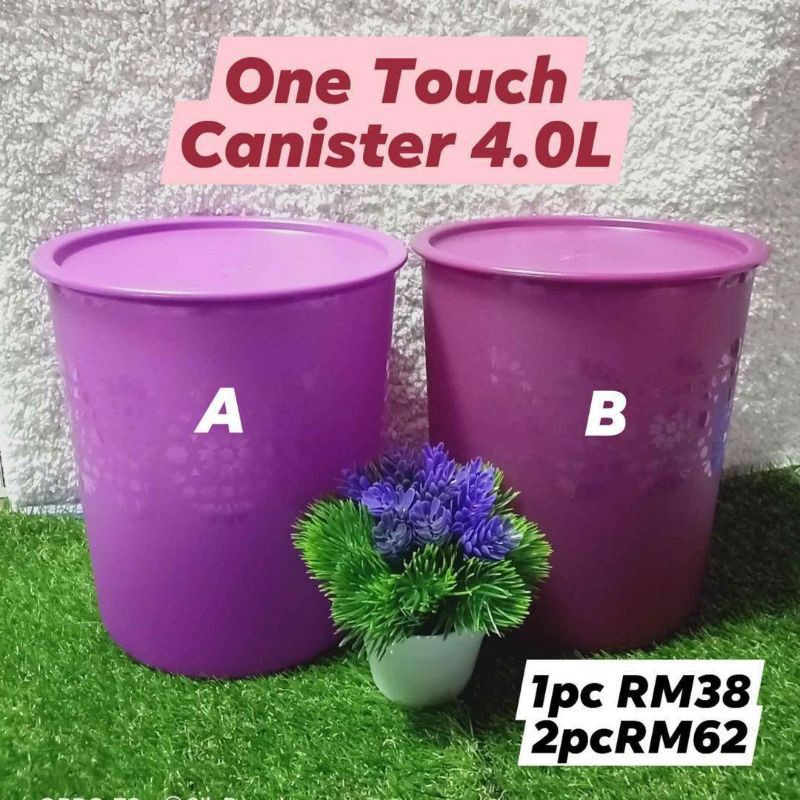 tupperware one touch canistre 4 L purple