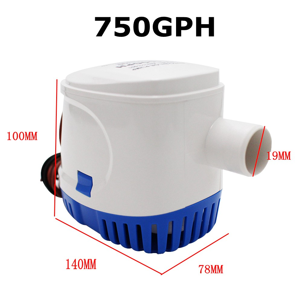 White Mini Automatic Boat Bilge Pumps Water Pump Float Switch For DC 12v//24v 65W
