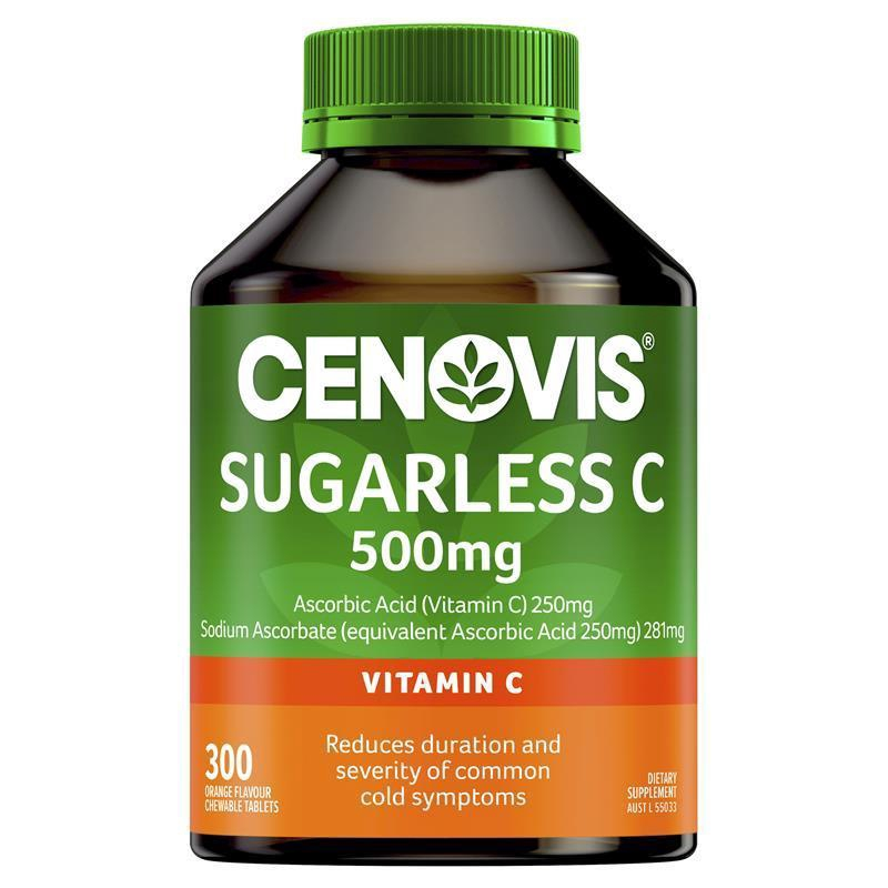 【Ready Stock】Cenovis Sugarless C 500mg Cheawable Tablets (300 Tablets)