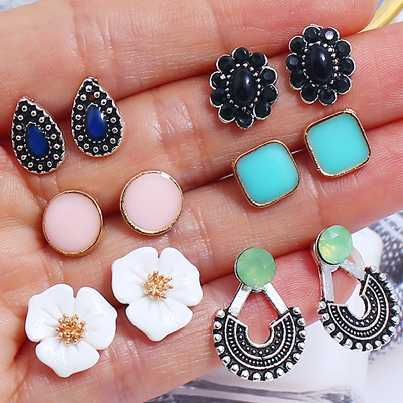 4042e1e0542 6 pairs colorful water drop sun flower round square turquoise ear studs  earring sets woman's fashion jewelry sets