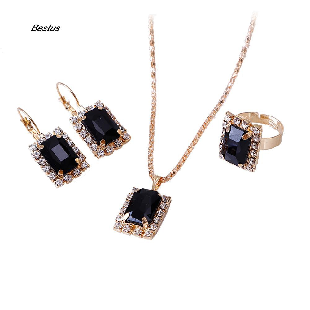 BTS_Fashion Jewelry Set Women Banquet Wedding Party Necklace Earrings Finger Ring