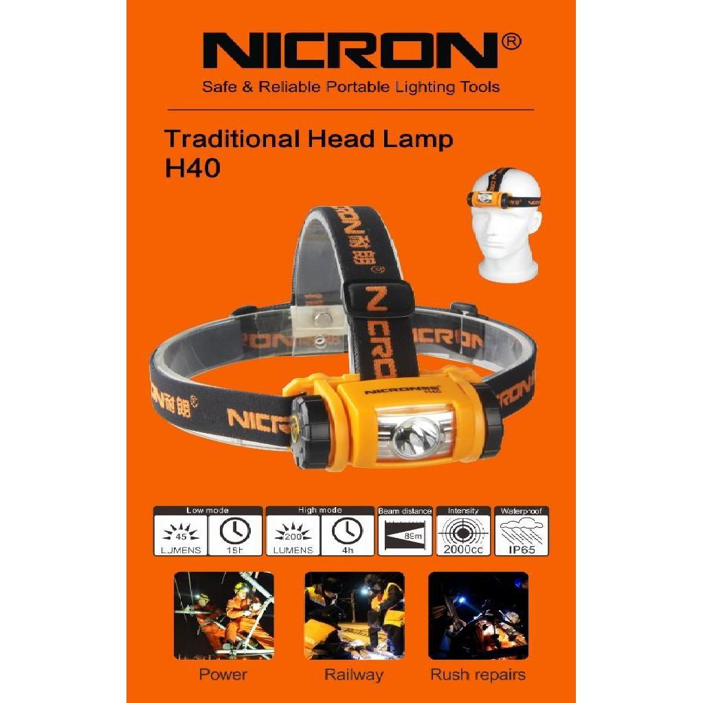 H40 NICRON HEAD LAMP TORCH LIGHT FLASHLIGHT