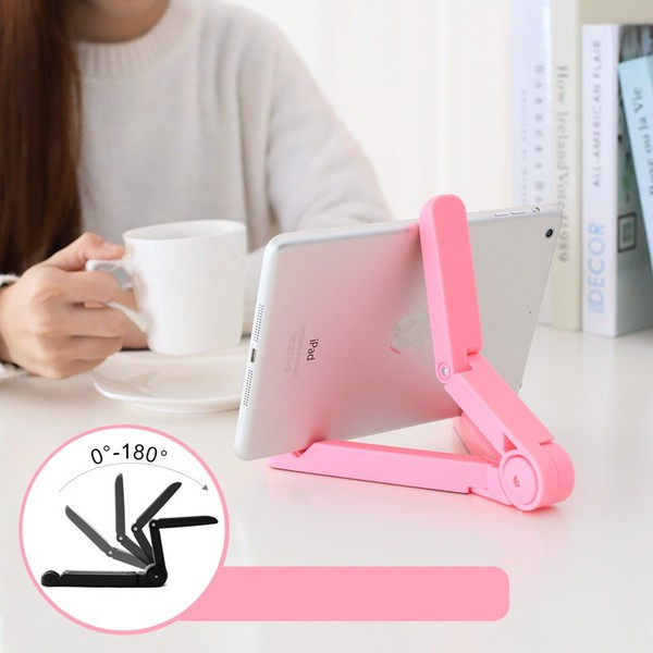 Adjustable Portable Horizontal or Vertical Plastic Foid Tablet Stand With Non Skid Base Design mobile Pad holder