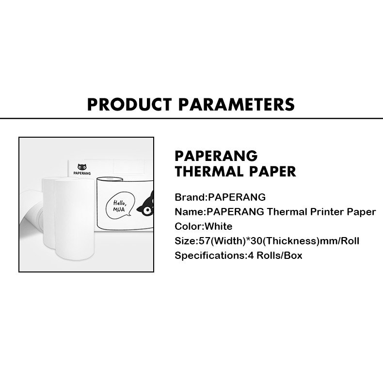 PAPERANG Thermal Printer Paper white 4Rolls/Box
