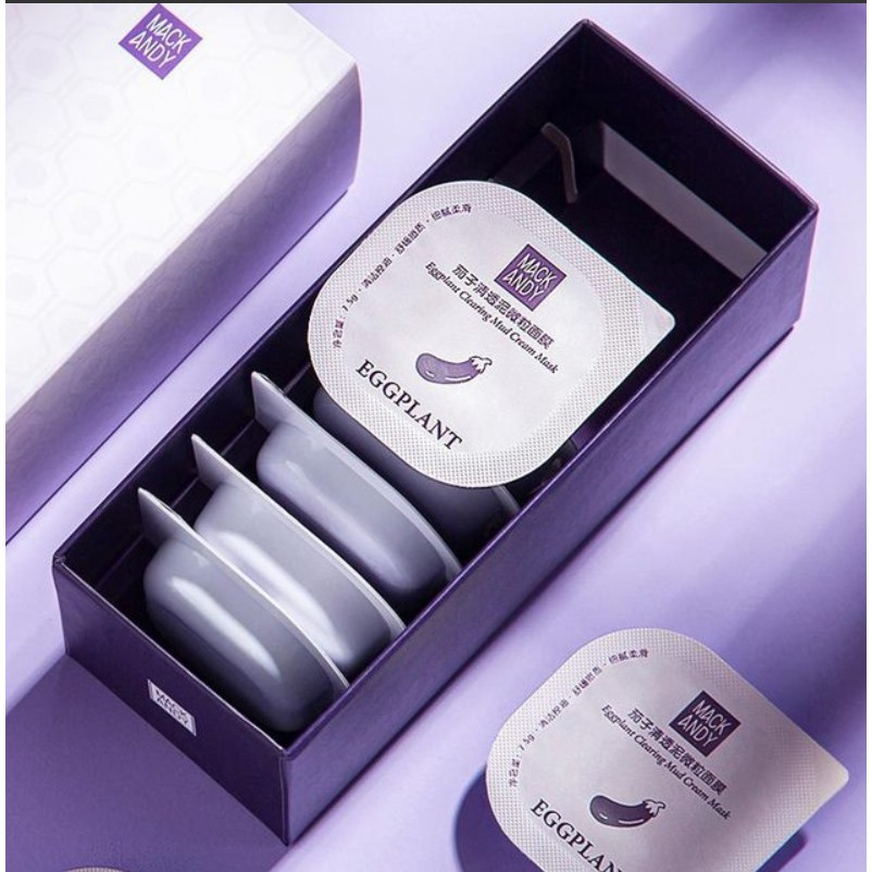 HOT SELLER MACK ANDY MAKE UP 8IN1 EGGPLANT CLEARING SCRUB PARTICLE OIL CONTROL MOISTURIZING MUD CREAM MASK BRIGHTENING