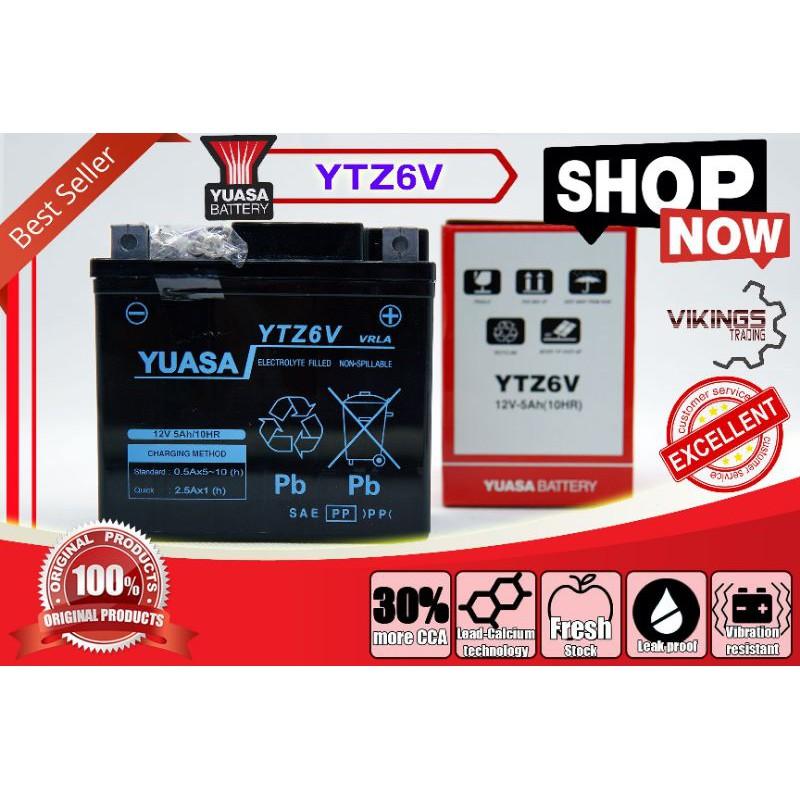 YTZ6 YTZ6V VIKINGS ORIGINAL AUTHENTIC JAPAN YUASA BATTERY YTZ6V SEALED MF Honda RS150 PCX AIR BLADE VARIO RS150 CBR15