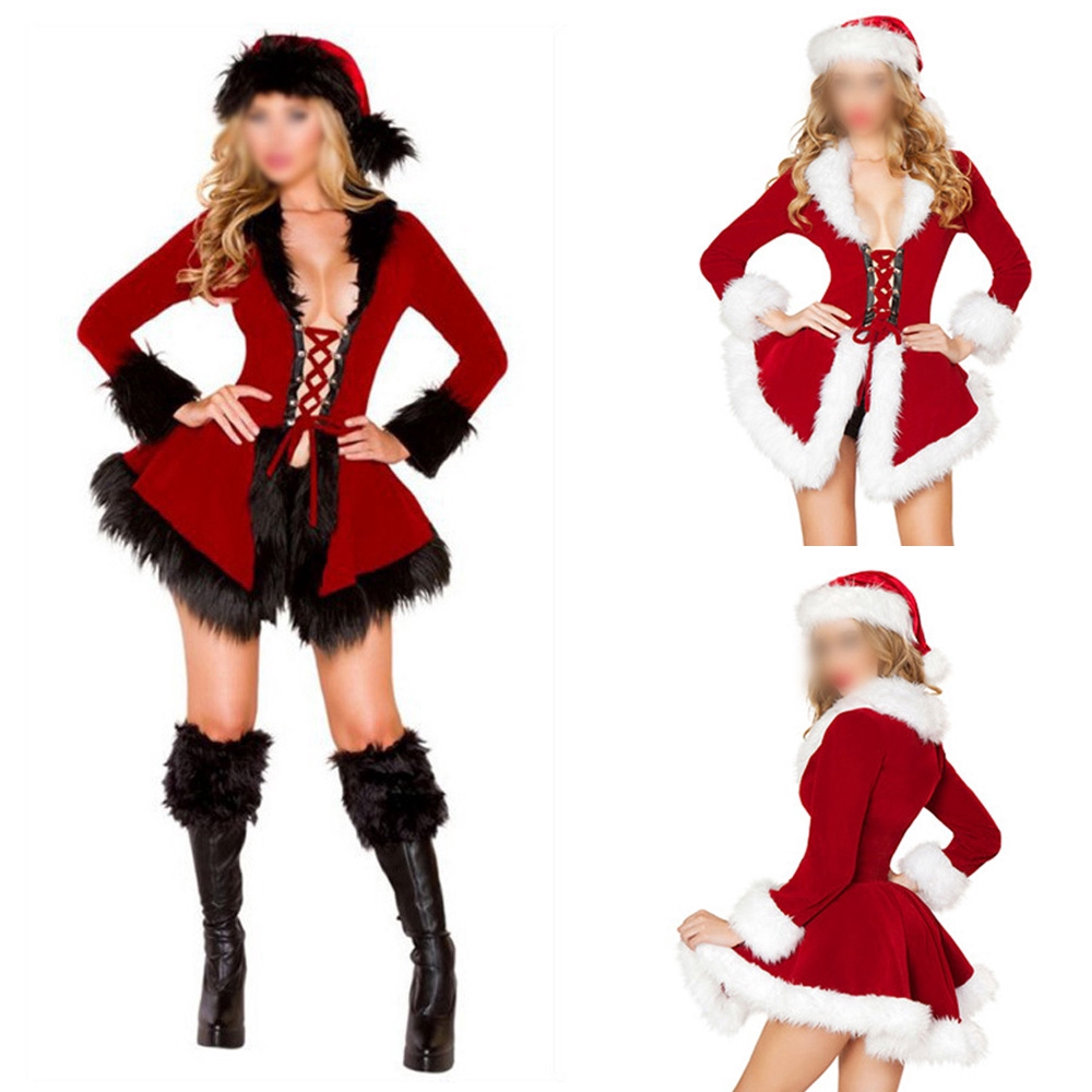 ad12d0191 Outfit Faux fur collar Fashion Winter Women Christmas Costume Santa Dress