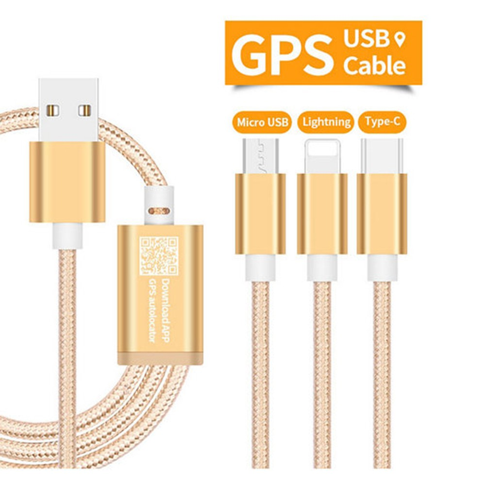 3 in 1 Multiple USB Cable with GPS Function,Micro USB/8pin Lightning/Type-C